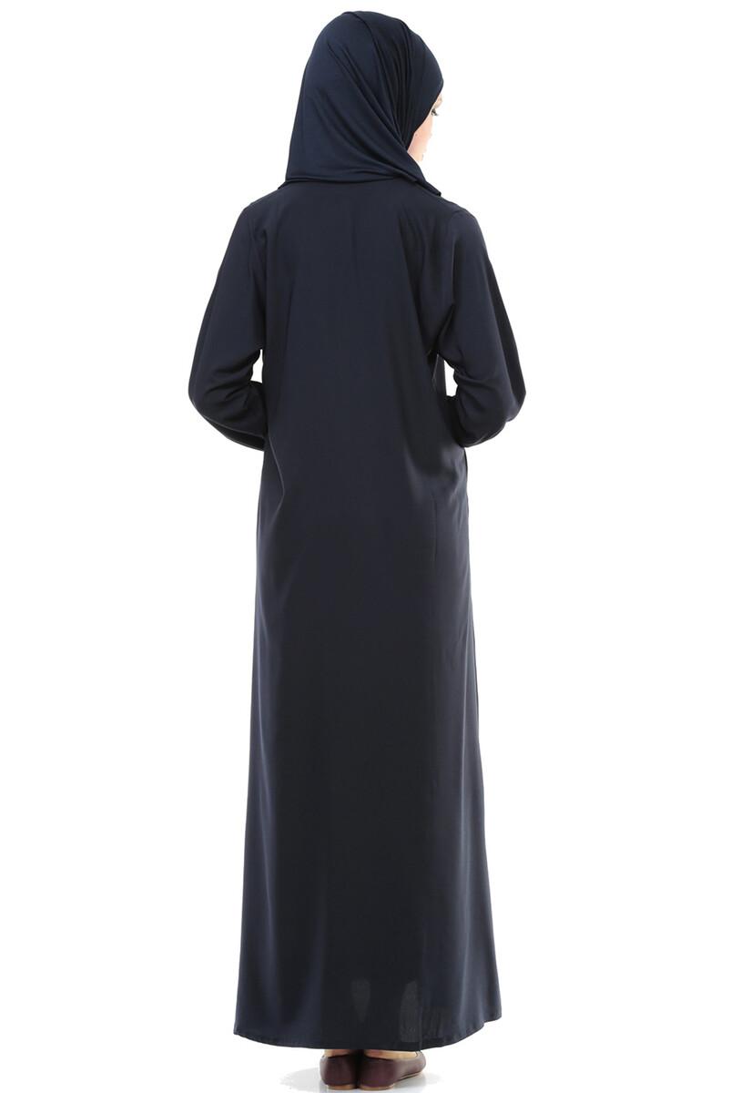İhvan 5008-2 Lacivert Pratik Kendinden Örtülü Namaz Elbisesi