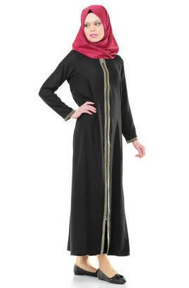 İhvan - 5009-1 Fermuarlı Siyah Namaz Elbisesi