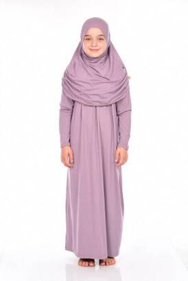 Zahranur - İhvan Çocuk Pratik Namaz Elbisesi 8-12 Yaş Gül Kurusu