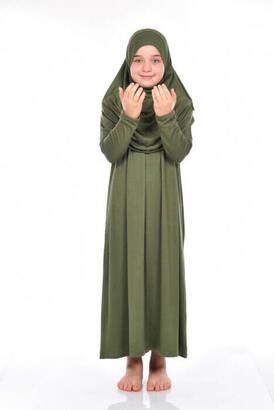 Zahranur - İhvan Çocuk Pratik Namaz Elbisesi 8-12 Yaş Haki