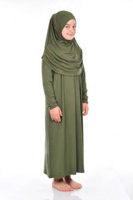 İhvan Çocuk Pratik Namaz Elbisesi 8-12 Yaş Haki