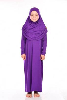 Zahranur - İhvan Çocuk Pratik Namaz Elbisesi 8-12 Yaş Mor