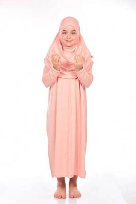 Zahranur - İhvan Çocuk Pratik Namaz Elbisesi 8-12 Yaş Neon