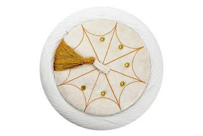 İmam Sarığı - Sultan Sarığı - El Sarması Sarık - Çapraz Sarılmış Sarık - Kadife - Beyaz