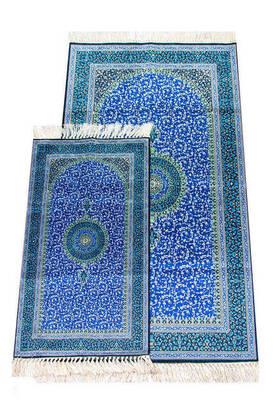 İhvan - İpekşah Baba Oğul Seccade Takımı - Mavi Renk