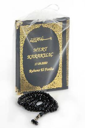 İhvan - İsim Baskılı Ciltli Yasin Kitabı Çanta Boy 128 Sayfa Tesbihli Siyah Renk Mevlit Hediyesi