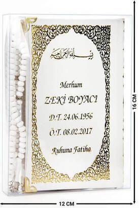İhvan - İsim Baskılı Ciltli Yasin Kitabı - Çanta Boy - 128 Sayfa - Tesbihli - Şeffaf Kutulu - Beyaz Renk - Dini Hediyelik Set