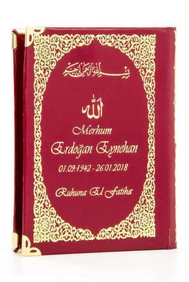 İsim Baskılı Ciltli Yasin Kitabı - Çanta Boy - 128 Sayfa - Tesbihli - Şeffaf Kutulu - Kırmızı Renk - Dini Hediyelik Set