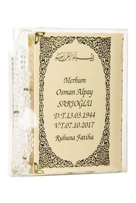 İhvan - İsim Baskılı Ciltli Yasin Kitabı - Çanta Boy - 128 Sayfa - Tesbihli - Şeffaf Kutulu - Krem Renk - Dini Hediyelik Set
