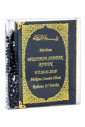 İhvan - İsim Baskılı Ciltli Yasin Kitabı - Çanta Boy - 128 Sayfa - Tesbihli - Şeffaf Kutulu - Siyah Renk - Dini Hediyelik Set