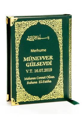 İhvan - İsim Baskılı Ciltli Yasin Kitabı - Çanta Boy - 208 Sayfa - Yeşil Renk - Dini Hediyelik