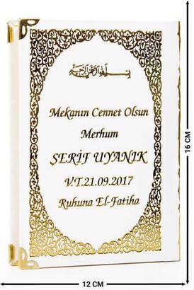 İhvan - İsim Baskılı Ciltli Yasin Kitabı - Çanta Boy - Beyaz - 128 Sayfa - Mevlit Hediyeliği