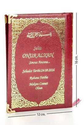 İhvan - İsim Baskılı Ciltli Yasin Kitabı - Çanta Boy - Kırmızı - 128 Sayfa - Mevlit Hediyeliği