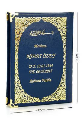 İhvan - İsim Baskılı Ciltli Yasin Kitabı - Çanta Boy - Lacivert - 128 Sayfa - Mevlit Hediyeliği