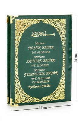 İhvan - İsim Baskılı Ciltli Yasin Kitabı - Çanta Boy - Yeşil - 128 Sayfa - Mevlit Hediyeliği