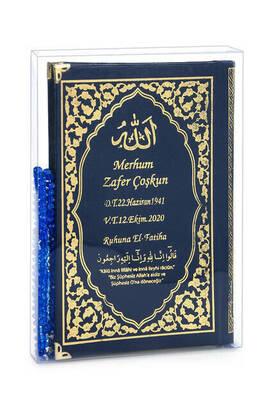 İhvan - İsim Baskılı Ciltli Yasin Kitabı Klasik Desen Tesbihli Şeffaf Kutulu Orta Boy Lacivert