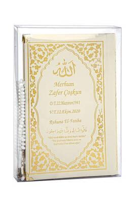 İhvan - İsim Baskılı Ciltli Yasin Kitabı Klasik Desen Tesbihli Şeffaf Kutulu Orta Boy Krem