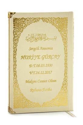 İhvan - İsim Baskılı Ciltli Yasin Kitabı - Orta Boy - 176 Sayfa - Krem Renk - Dini Hediyelik