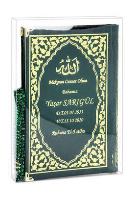 İhvan - İsim Baskılı Ciltli Yasin Kitabı - Orta Boy - Klasik Desen - Tesbihli - Şeffaf Kutulu - Yeşil Renk