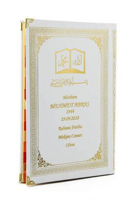 İhvan - İsim Baskılı Ciltli Yasin Kitabı - Osmanlı Desenli - Orta Boy - 176 Sayfa - Beyaz Renk - Dini Hediyelik
