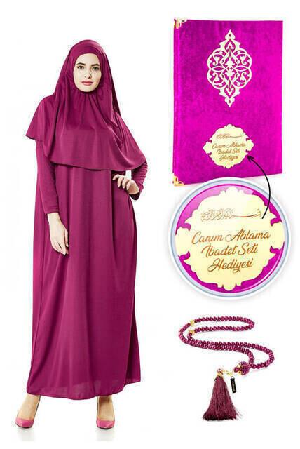 İsme Özel Anneler Günü Hediyesi Namaz Elbisesi Seti Fuşya