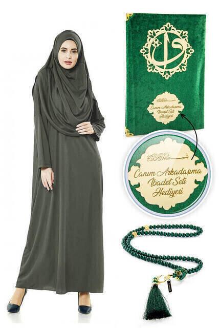 İsme Özel Anneler Günü Hediyesi Namaz Elbisesi Seti Haki