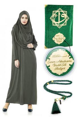 İhvan - İsme Özel Anneler Günü Hediyesi Namaz Elbisesi Seti Haki