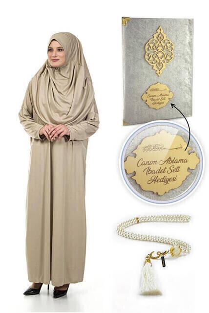 İsme Özel Anneler Günü Hediyesi Namaz Elbisesi Seti Krem