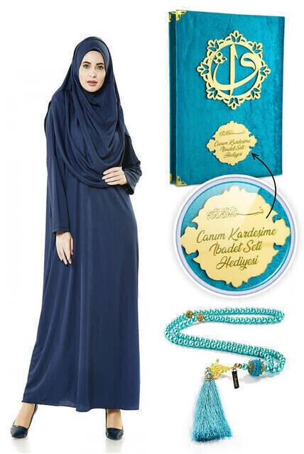 İsme Özel Anneler Günü Hediyesi Namaz Elbisesi Seti Lacivert