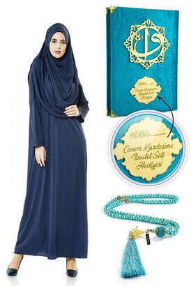 İhvan - İsme Özel Anneler Günü Hediyesi Namaz Elbisesi Seti Lacivert