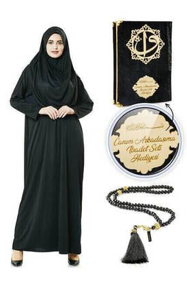 İhvan - İsme Özel Anneler Günü Hediyesi Namaz Elbisesi Seti Siyah