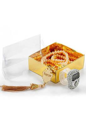 İhvan - İsme Özel Pleksili İnci Tesbihli Zikirmatikli Mevlid Hediye Seti - Gold Renk