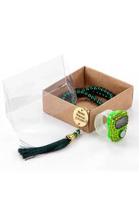 İhvan - İsme Özel Pleksili İnci Tesbihli Zikirmatikli Mevlid Hediye Seti - Yeşil Renk