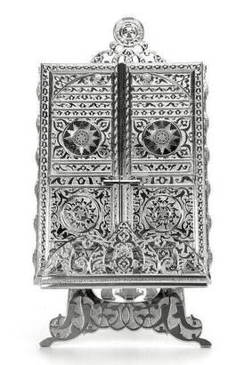 İhvan - Kaaba Door Patterned Silver Color Quran Box with Quran Gift -1329