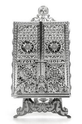 İhvan - Kaaba Door Designed Silver Color Quran Box with Quran Gift