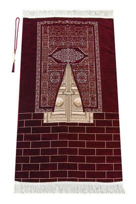 İhvan - Kabe Kapısı Modeli Desenli Şönil Seccade Bordo