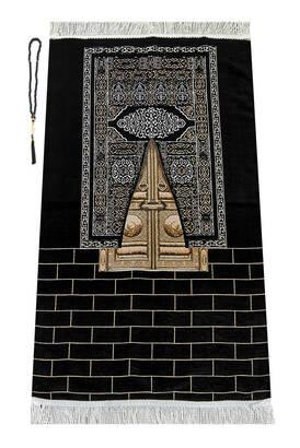 İhvan - Kabe Kapısı Modeli Desenli Şönil Seccade Siyah