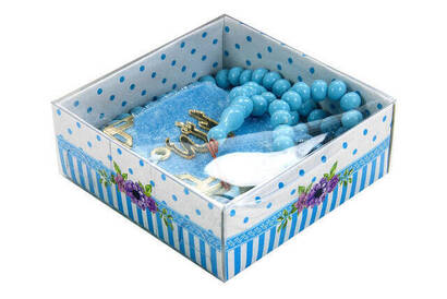 İhvan - Kadife Kaplı Mini Kuran Kutulu - Tesbihli - Mavi