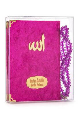 İhvan - Kadife Kaplı Yasin Kitabı - Çanta Boy - İsim Baskılı Plaka - Tesbihli - Şeffaf Kutulu - Fuşya - Hediyelik Yasin Seti
