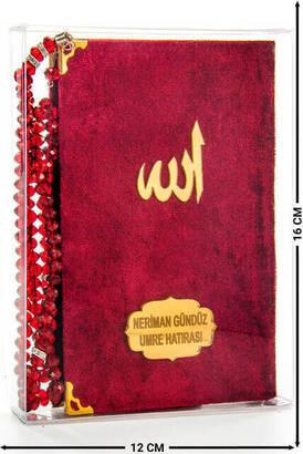 İhvan - Kadife Kaplı Yasin Kitabı - Çanta Boy - İsim Baskılı Plaka - Tesbihli - Şeffaf Kutulu - Kırmızı - Hediyelik Yasin Seti