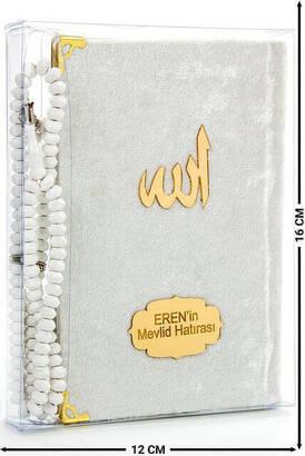 İhvan - Kadife Kaplı Yasin Kitabı - Çanta Boy - İsim Baskılı Plaka - Tesbihli - Şeffaf Kutulu - Krem - Hediyelik Yasin Seti (2)