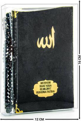 İhvan - Kadife Kaplı Yasin Kitabı - Çanta Boy - İsim Baskılı Plaka - Tesbihli - Şeffaf Kutulu - Siyah - Hediyelik Yasin Seti (2)