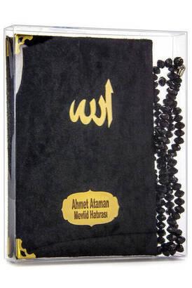 İhvan - Kadife Kaplı Yasin Kitabı - Çanta Boy - İsim Baskılı Plaka - Tesbihli - Şeffaf Kutulu - Siyah - Hediyelik Yasin Seti