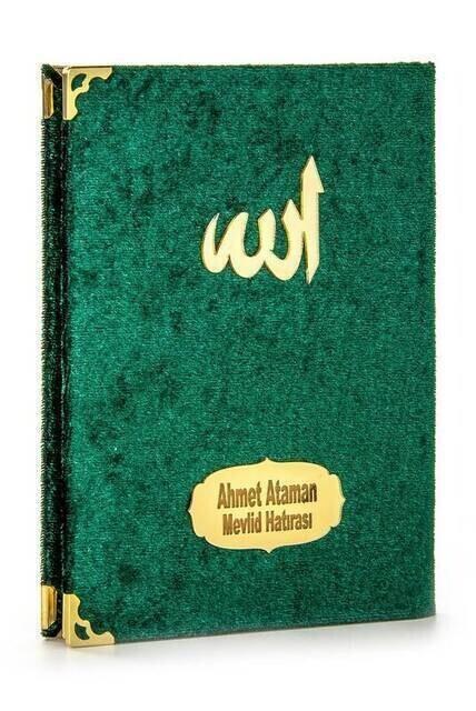 Kadife Kaplı Yasin Kitabı - Çanta Boy - İsim Baskılı Plaka - Tesbihli - Şeffaf Kutulu - Yeşil - Hediyelik Yasin Seti