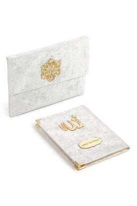 İhvan - Kadife Kaplı Yasin Kitabı - Çanta Boy - İsme Özel Plakalı - Keseli - Beyaz Renk - Dini Hediyelik