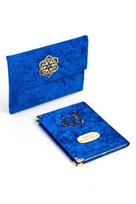 İhvan - Kadife Kaplı Yasin Kitabı - Çanta Boy - İsme Özel Plakalı - Keseli - Lacivert Renk - Dini Hediyelik
