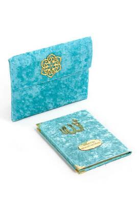 İhvan - Kadife Kaplı Yasin Kitabı - Çanta Boy - İsme Özel Plakalı - Keseli - Mavi Renk - Dini Hediyelik
