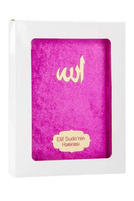 İhvan - Kadife Kaplı Yasin Kitabı - Çanta Boy - İsme Özel Plakalı - Kutulu - Fuşya Renk - İslami Dini Hediyeler