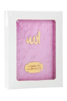 İhvan - Kadife Kaplı Yasin Kitabı - Çanta Boy - İsme Özel Plakalı - Kutulu - Pembe Renk - İslami Dini Hediyeler