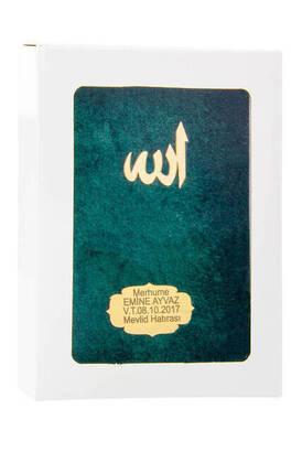 İhvan - Kadife Kaplı Yasin Kitabı - Çanta Boy - İsme Özel Plakalı - Kutulu - Yeşil Renk - İslami Dini Hediyeler